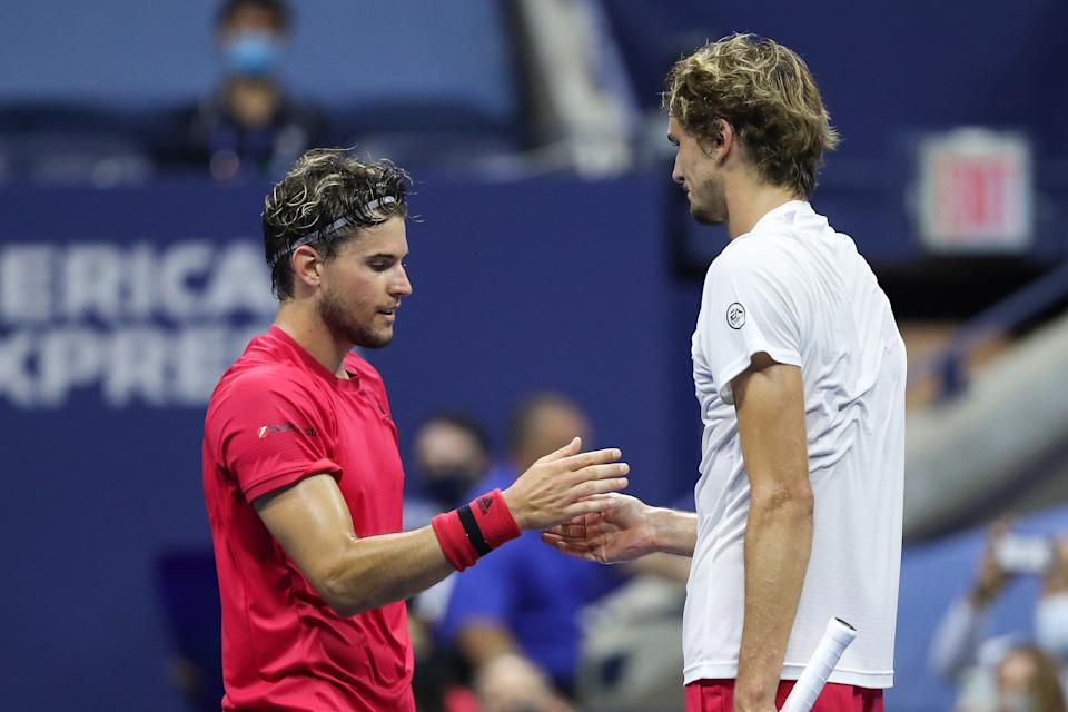 NEW YORK, NEW YORK - SEPTEMBER 13: (L-R) Dominic Thiem of Austria shakes hands with Alexander Zverev of Germany after winning their Men's Singles final match on Day Fourteen of the 2020 US Open at the USTA Billie Jean King National Tennis Center on September 13, 2020 in the Queens borough of New York City. (Photo by Matthew Stockman/Getty Images)