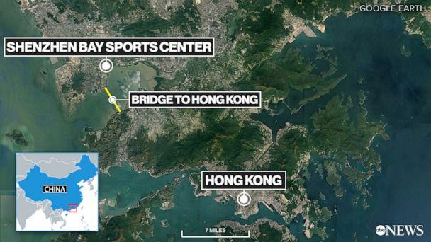 PHOTO: Shenzhen Hong Kong map (ABC News)