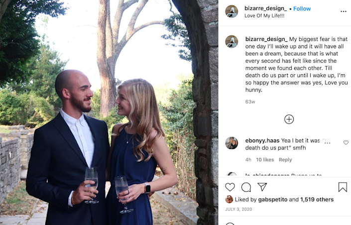 Mr Laundrie's 'Til death do us part' comment' has attracted significant interest from online followers of the case (Instagram)