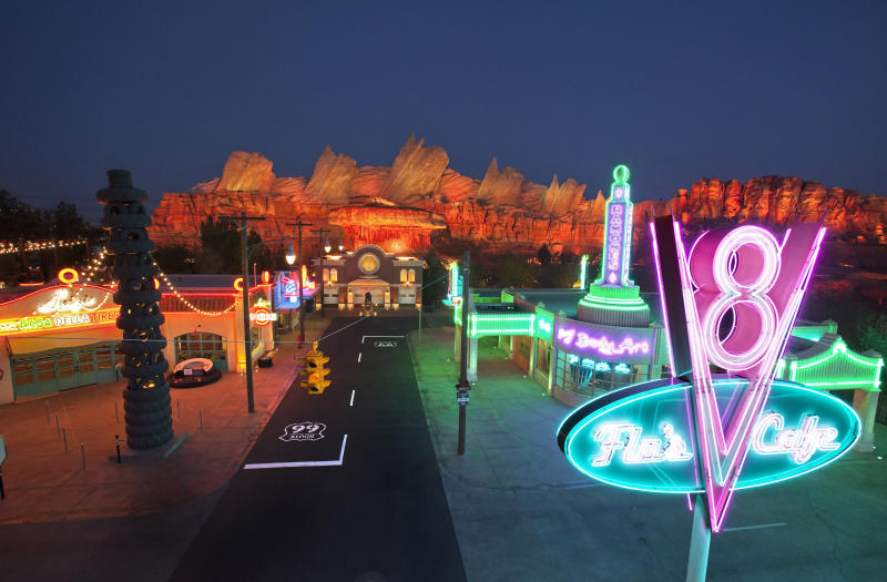 """This May 2012 photo released by Disneyland shows the new 12-acre Cars Land, a replica of Radiator Springs, the town in the popular """"Cars,"""" film franchise at Disney California Adventure park at Disneyland Resort in Anaheim, Calif. The park's five-year, $1 billion-plus revamp has debuted in spurts since 2008. Most of its new features rely on characters that come from Disney's $7.4 billion acquisition of Pixar Animation Studios, the San Francisco-area studio behind """"Cars,"""" `'Toy Story,"""" `'Monsters Inc."""" and """"A Bug's Life."""" (AP Photo/Disneyland Resort, Paul Hiffmeyer)"""