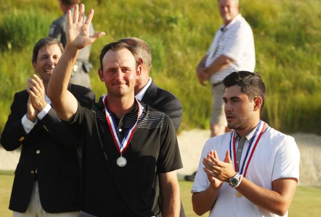 """<div class=""""caption""""> Matt Parziale celebrates winning a share of low-amateur honors at the 2018 U.S. Open. </div> <cite class=""""credit"""">Streeter Lecka/Getty Images</cite>"""