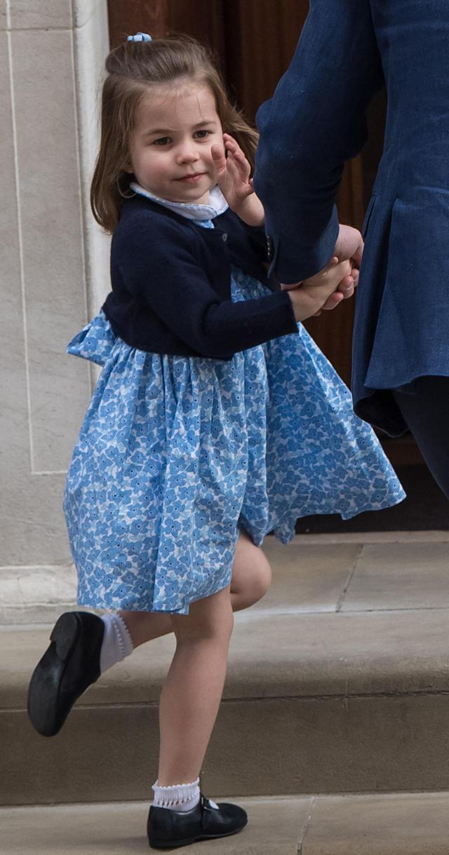 <p>On April 23, 2018, Princess Charlotte visited St. Mary's Hospital in London to meet her little brother. For the momentous occasion, the 2-year-old wore a smock dress covered in blue flowers from Little Alice London. The £43 ($65) dress soon sold out from the website, which was founded by one of Kate Middleton's old school friends. (Photo: Getty Images) </p>