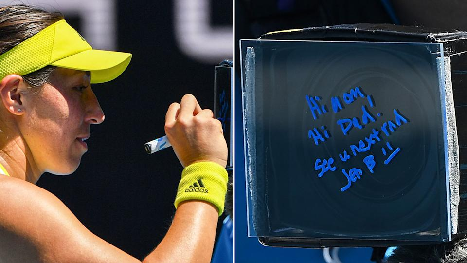 Seen here, Jessica Pegula leaves a lovely message after her win at the Australian Open on Monday.