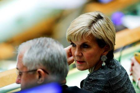 Australia's Foreign Minister Bishop speaks to Australia's Prime Minister Turnbull while they attend the United Nations General Assembly in the Manhattan borough of New York