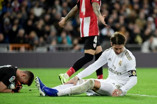 Sergio Ramos sits dejected late in Madrid's draw with Bilbao