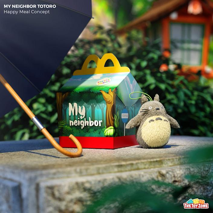 A Fake happy meal box and figure for My Neighbor Totoro