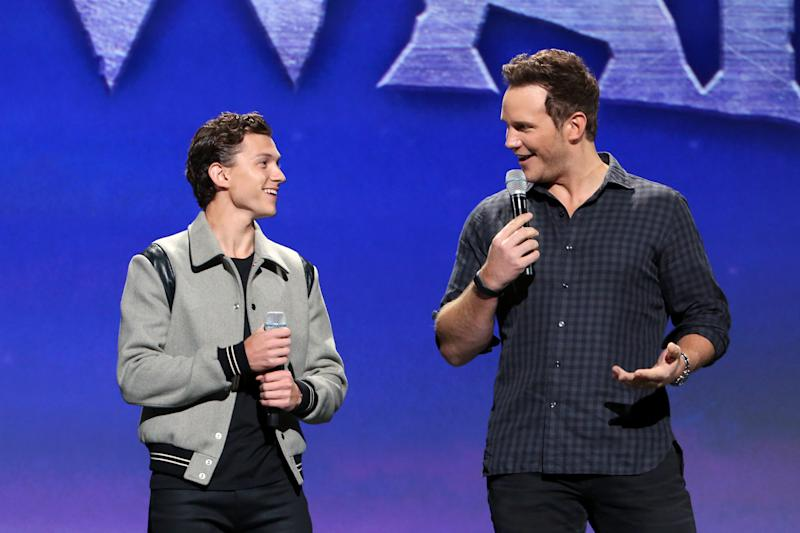 Tom Holland and Chris Pratt of <i>Onward</i> at Disney's D23 Expo. (Photo by Jesse Grant/Getty Images for Disney)