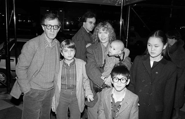 Director Woody Allen and actress Mia Farrow pose with four of their children in New York City in 1986. Moses is wearing glasses. (Photo: Ann Clifford/DMI/The LIFE Picture Collection/Getty Images)