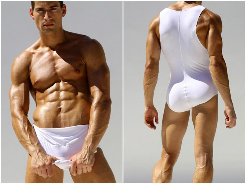 <p>A masculine version of the female bodysuit has apparently become so popular that the makers of the undergarment are producing a swimwear version for men. <strong>Click through the gallery for more info and images of the hot new one piece! </strong><em>(Photo: Rufskin) </em> </p>