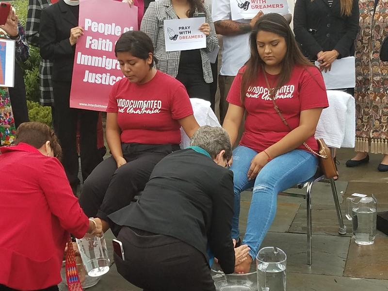Clergy wash the feet of DACA recipients on Capitol Hill in a gesture of humanity. (Courtesy of Church World Service)