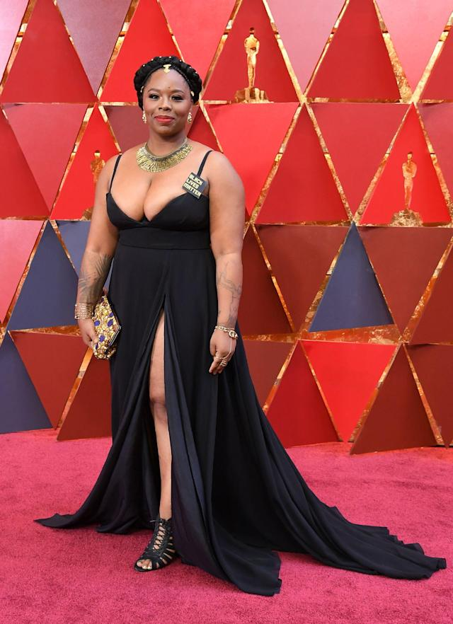 <p>Patrisse Cullors attends the 90th Academy Awards in Hollywood, Calif., March 4, 2018. (Photo: Getty Images) </p>