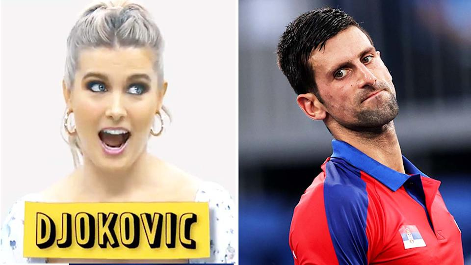Eugenie Bouchard (pictured left) reacting during a word-game and Novak Djokovic (pictured right) looking frustrated.