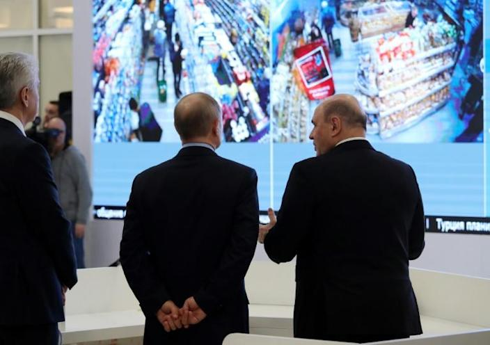 President Vladimir Putin has toured a hi-tech centre set up to monitor the virus situation and Russia's response (AFP Photo/Mikhail KLIMENTYEV)