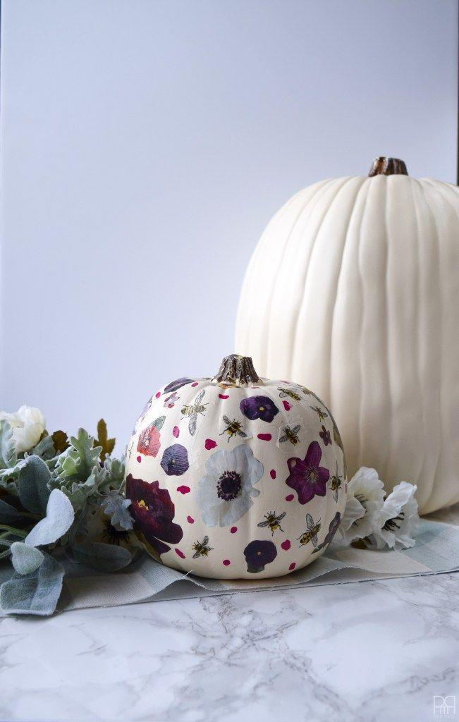 """<p>Grab anything with a pattern you love—could be tissue paper, napkins, or the page of a magazine—and use it (with Mod Podge, of course) to create a one-of-a-kind pumpkin. <br></p><p><strong><em>Get the tutorial from <a href=""""http://www.pmqfortwo.com/2016/09/decoupage-floral-pumpkins/"""" rel=""""nofollow noopener"""" target=""""_blank"""" data-ylk=""""slk:PMQ for Two"""" class=""""link rapid-noclick-resp"""">PMQ for Two</a>. </em> </strong></p>"""