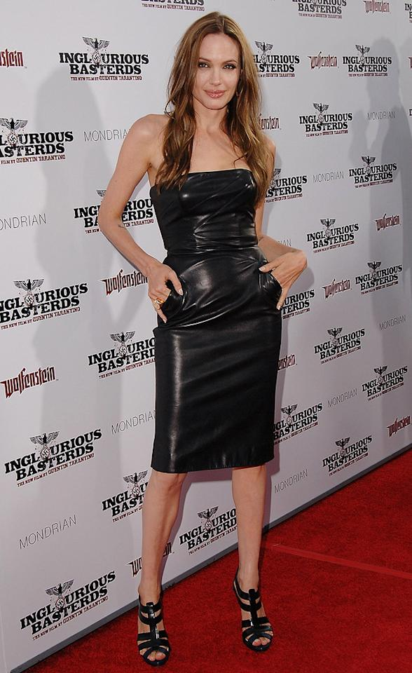 """<a href=""""http://movies.yahoo.com/movie/contributor/1800019275"""">Angelina Jolie</a> at the Los Angeles premiere of <a href=""""http://movies.yahoo.com/movie/1808404206/info"""">Inglourious Basterds</a> - 08/10/2009"""