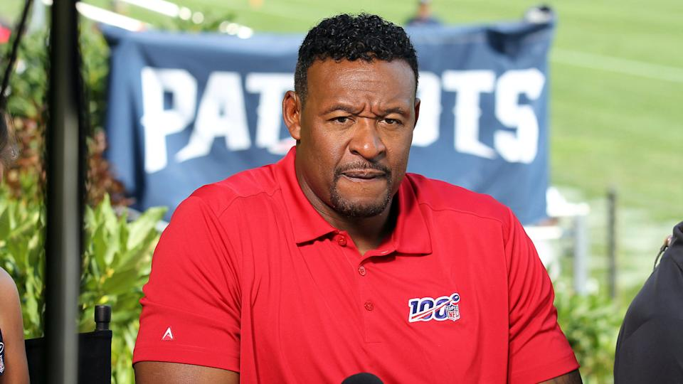 Mandatory Credit: Photo by Stew Milne/AP/Shutterstock (10348552o)Former New England Patriot Willie McGinest on set for the NFL Network, during an NFL football training camp practice in Foxborough, MassPatriots Football, Foxborough, USA - 27 Jul 2019.