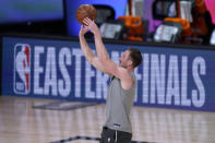 Boston Celtics' Gordon Hayward warms up for Game 3 of the team's NBA basketball Eastern Conference final against the Miami Heat on Saturday, Sept. 19, 2020, in Lake Buena Vista, Fla. (AP Photo/Mark J. Terrill)