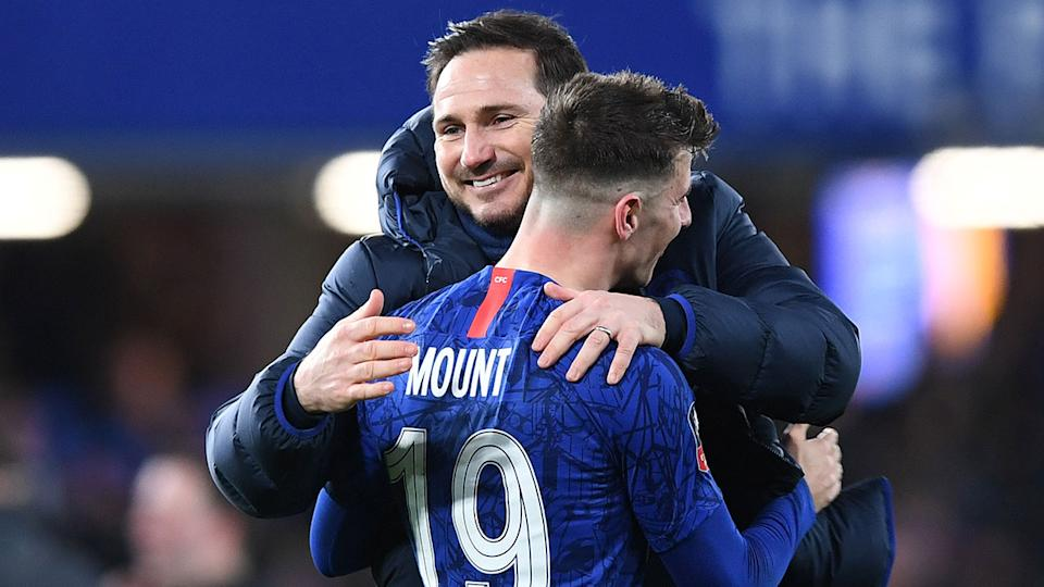 Frank Lampard is pictured here embracing Chelsea youngster Mason Mount.