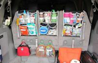 """<p>Plastic shower pockets hold everything a mom could possibly need on a road trip (or, heck, a supermarket run) with kids. </p><p><em><a href=""""http://emcx3.blogspot.com/2012/06/junk-in-trunk-per-request.html"""" rel=""""nofollow noopener"""" target=""""_blank"""" data-ylk=""""slk:Get the tutorial at The Castro Family Happynings »"""" class=""""link rapid-noclick-resp"""">Get the tutorial at The Castro Family Happynings »</a></em><br></p>"""