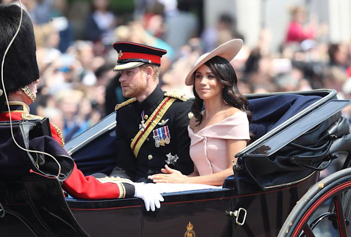 At Trooping the Colour, there was some surprise that she had her shoulders uncovered. (Getty Images)