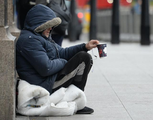 A homeless person in Victoria, London