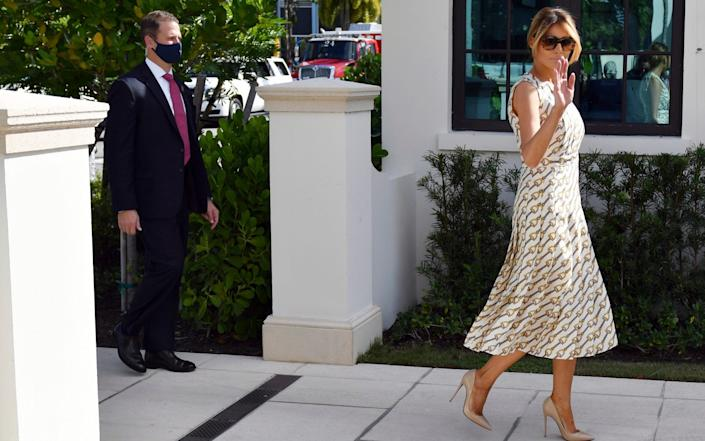 First lady Melania Trump arrives to vote at the Morton and Barbara Mandel Recreation Center in Palm Beach, FL - Jim Rassol /AP