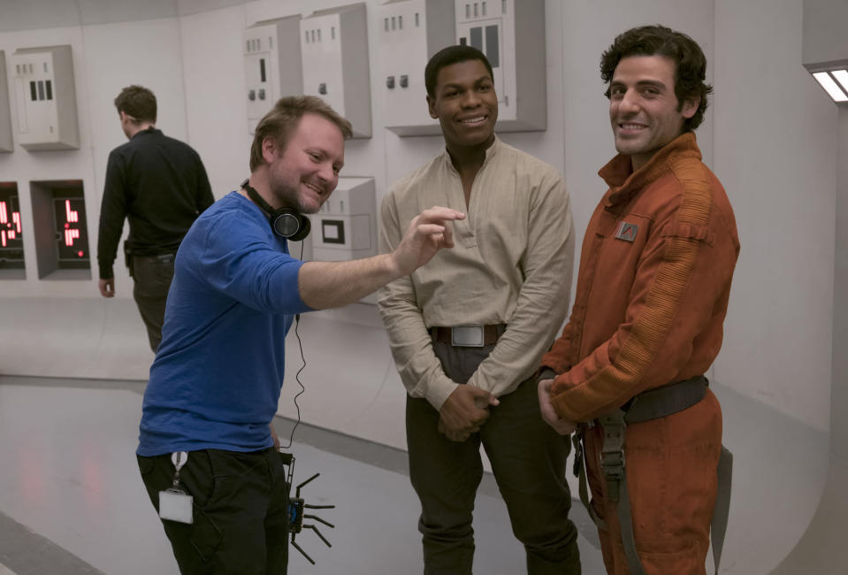 Rian Johnson gets in on the Finn and Poe bromance. (Photo: Lucasfilm)
