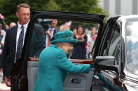 Britain's Queen Elizabeth II leaves after visiting the set of the long running television series Coronation Street, in Manchester, England, Thursday July 8, 2021. (AP Photo/Scott Heppell)