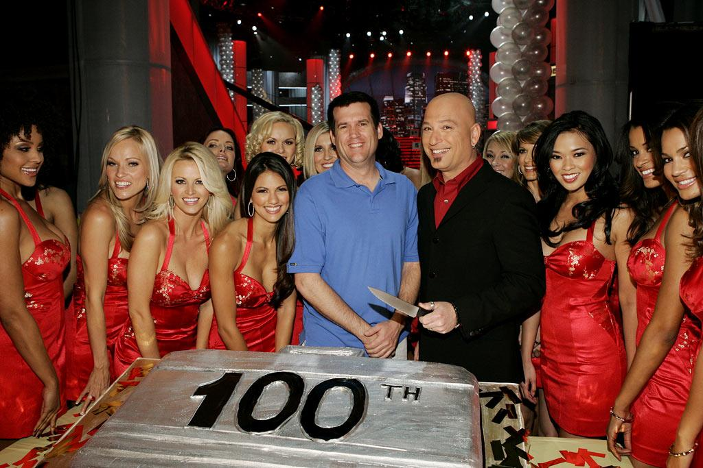 Exec. Producer Scott St. John, Host Howie Mandel, with Suitcase Models on Deal or No Deal.