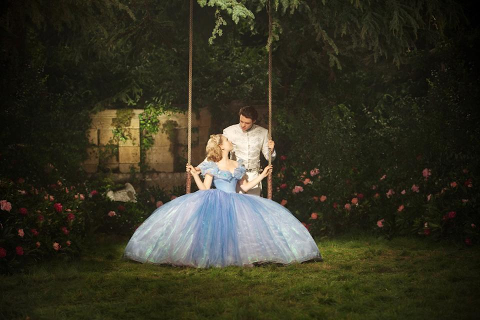 CINDERELLA, from left: Lily James as Cinderella, Richard Madden, 2015. ph: Jonathan Olley/Walt Disney Studios Motion Pictures/courtesy Everett Collection