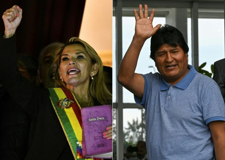 This combination of pictures taken on November 12, 2019 shows deputy Senate speaker Jeanine Anez (L), gesturing after proclaiming herself Bolivia's new interim president, and ex-President Evo Morales waving upon landing in Mexico City