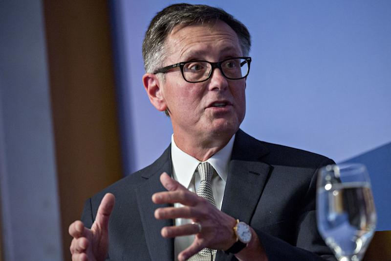 Richard Clarida, vice chairman of the U.S. Federal Reserve, speaks during a discussion at the Peterson Institute for International Economics in Washington, D.C., U.S., on Thursday, Oct. 25, 2018. Clarida backed further gradual increases in interest rates while delivering an upbeat assessment of the U.S. economy in his maiden speech as a monetary policy maker. Photographer: Andrew Harrer/Bloomberg via Getty Images