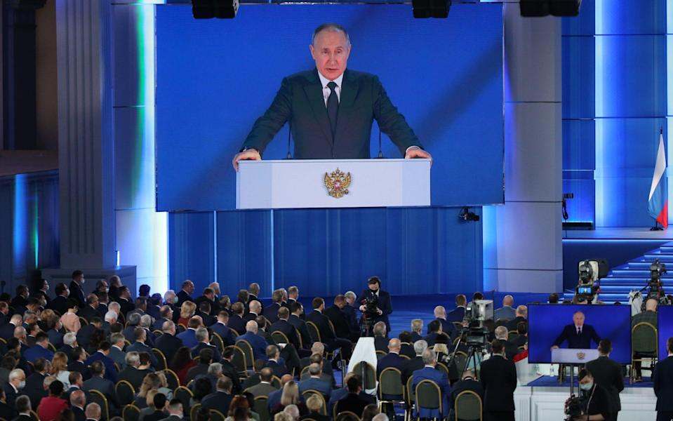 Russian President Vladimir Putin delivers his annual address to the Federal Assembly - Konstantin Zavrazhin /Getty Images Europe