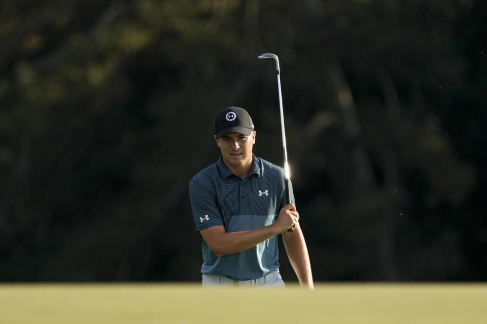 Jordan Spieth walks up to the 18th green during the final round of the Masters golf tournament on Sunday, April 11, 2021, in Augusta, Ga. (AP Photo/David J. Phillip)