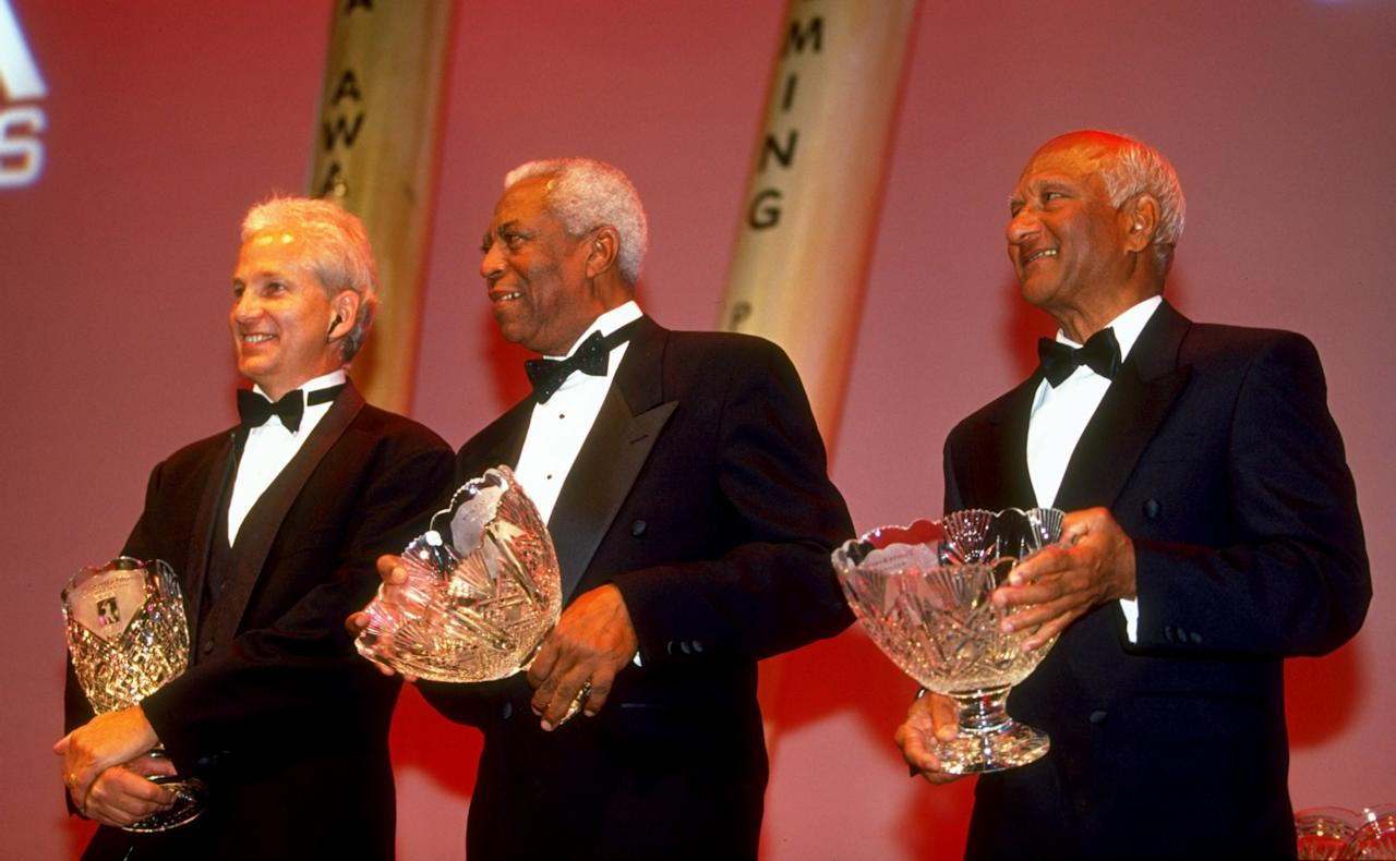 29 Sep 1999:  (L to R) David Gower, Lance Gibbs and Rohan Kanhai are inducted to the Hall of Fame at the PCA Awards Dinner held at the Royal Albert Hall, London.  \ Mandatory Credit: Clive Mason /Allsport