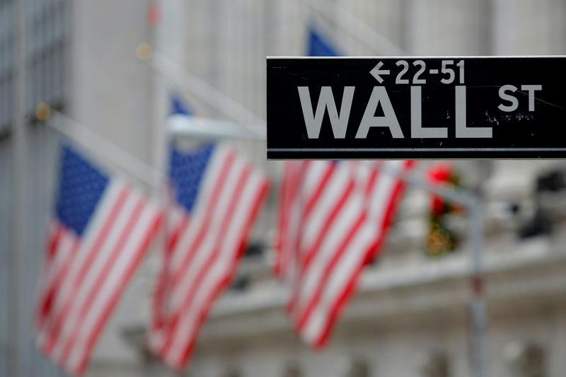 FILE PHOTO: A street sign for Wall Street is seen outside the New York Stock Exchange in Manhattan, New York City