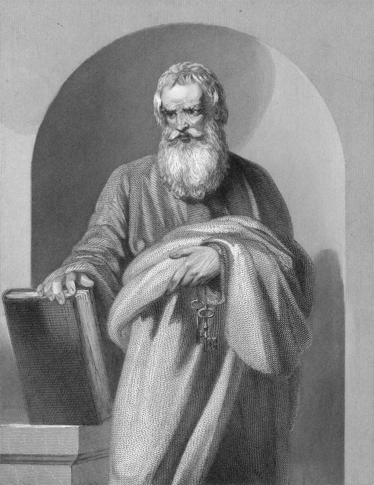 Circa 50 AD, Saint Peter (died circa 64 AD). A former fisherman from Capernaum, one of the Twelve Apostles of Christianity, preached Christ's mission in Jerusalem after the Crucifixion circa 33 - 44 AD, presumed to have died in Rome during Nero's suppressions. (Photo by Archive Photos/Getty Images)