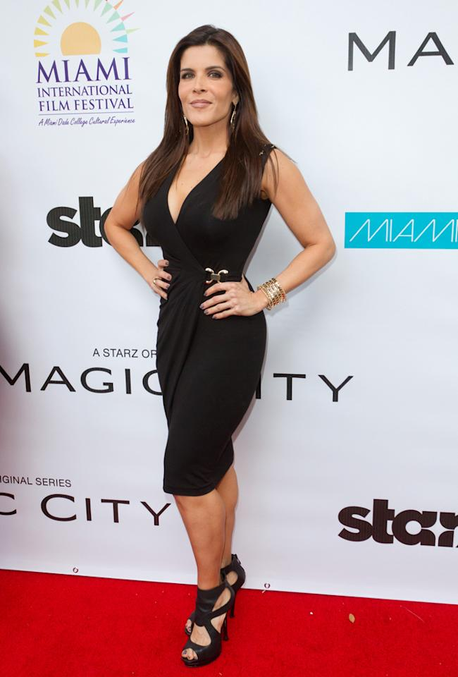 "Adriana Catano attends the ""<a target=""_blank"" href=""http://tv.yahoo.com/magic-city/show/46996"">Magic City</a>"" premiere at Colony Theater on March 4, 2012 in Miami Beach, Florida."