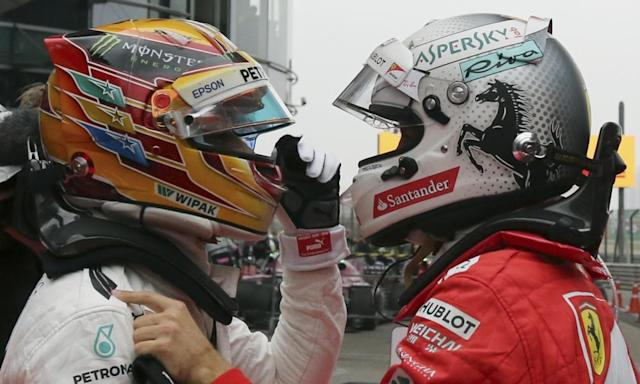 "<span class=""element-image__caption"">The Mercedes driver Lewis Hamilton, left, and Ferrari's Sebastian Vettel embrace after the Chinese Grand Prix in Shanghai.</span> <span class=""element-image__credit"">Photograph: Toru Takahashi/AP</span>"