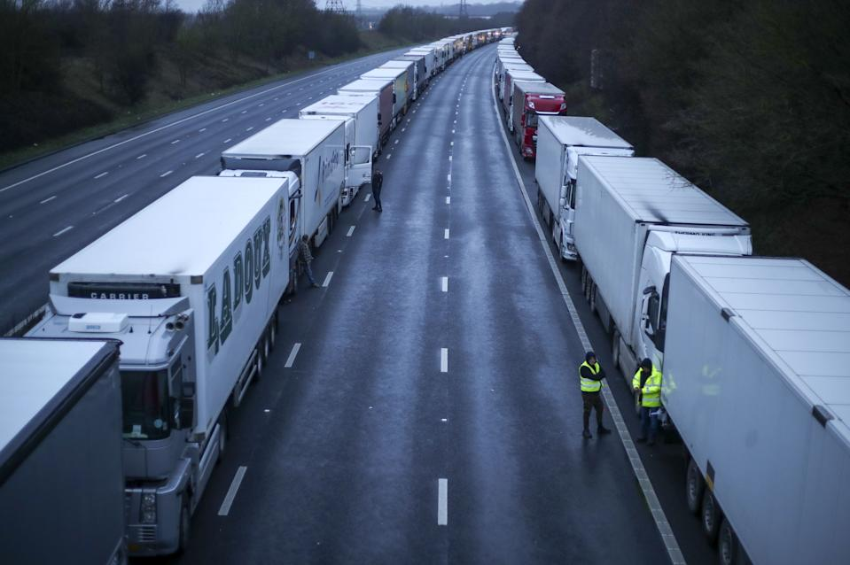 Lorries parked on the M20 in Kent after the Port of Dover was closed after the French government's announcement it will not accept any passengers arriving from the UK. France appears set to end a ban on hauliers crossing the Channel which was imposed due to fears about the spread of the new coronavirus strain.