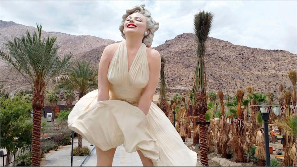 A controversial statue of actress Marilyn Monroe stands in front of the Palm Springs Art Museum in Palm Springs, California, U.S. June 23, 2021. Picture taken June 23, 2021. REUTERS/Sandra Stojanovic