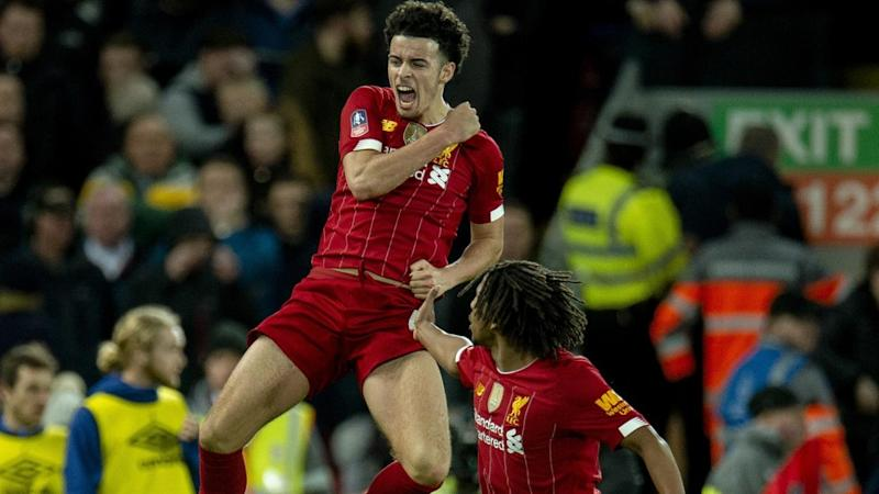 Curtis Jones' cracking goal for Liverpool has helped his side eliminate Everton from the FA Cup