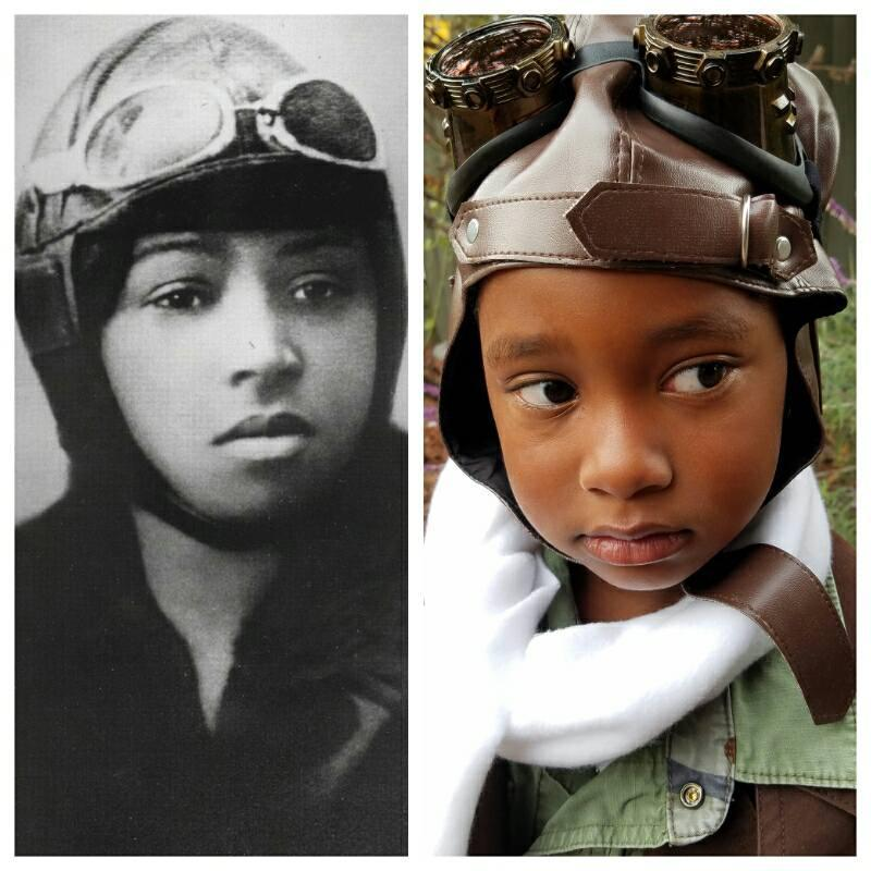 Ella-Lorraine next to her hero, pilot Bessie Coleman. (Photos: Getty Images, The Brown family)