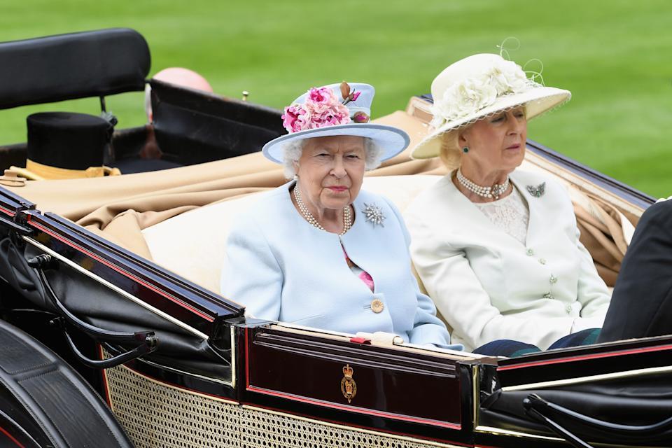 ASCOT, ENGLAND - JUNE 20:  Queen Elizabeth II and Princess Alexandra, The Honourable Lady Ogilvy arrive in the royal procession on day 2 of Royal Ascot at Ascot Racecourse on June 20, 2018 in Ascot, England.  (Photo by Stuart C. Wilson/Getty Images for Ascot Racecourse )