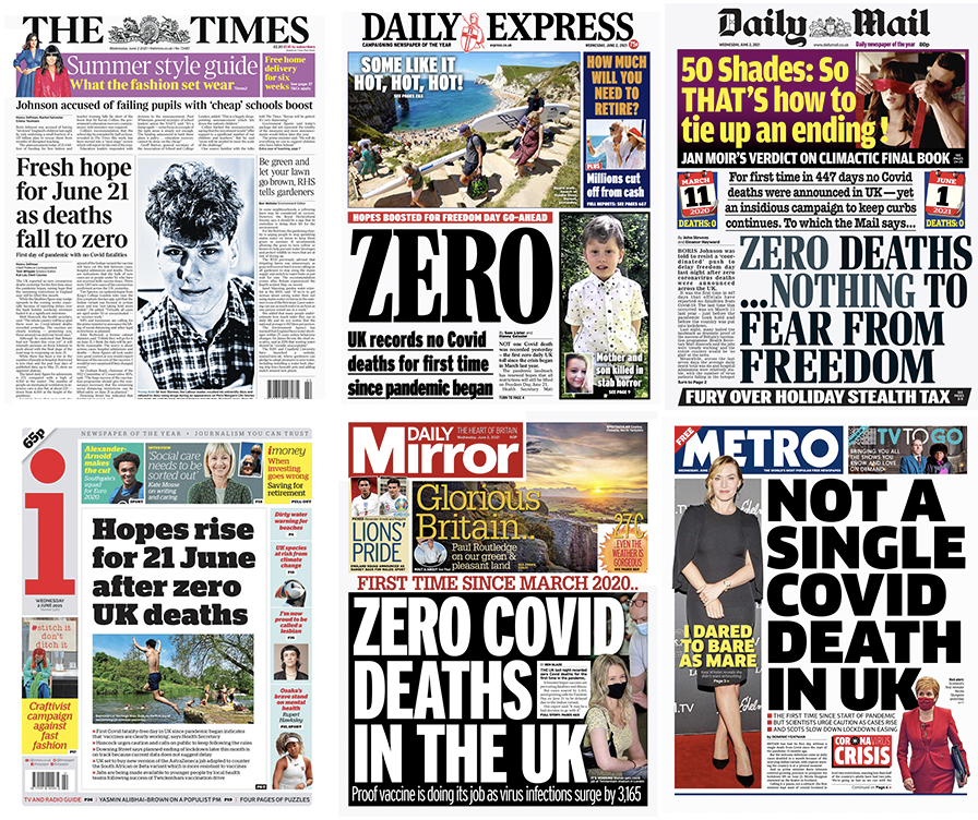 'Zero': UK national newspaper front pages on Wednesday.