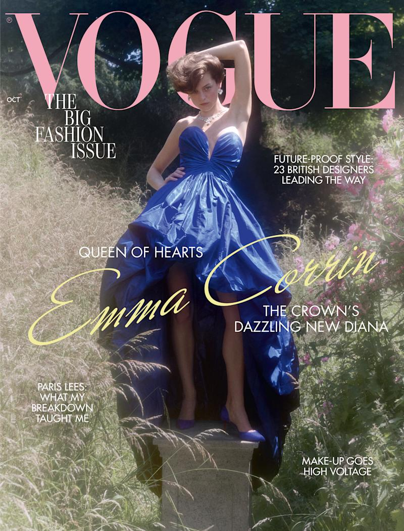 EMBARGOED TO 1730 MONDAY SEPTEMBER 7 British Vogue undated handout photo of Emma Corrin on the front cover of their October 2020 edition. The 24-year-old actress will portray Diana during the early part of her relationship with the Prince of Wales before handing over the role to Elizabeth Debicki for series five and six of the hit Netflix drama.