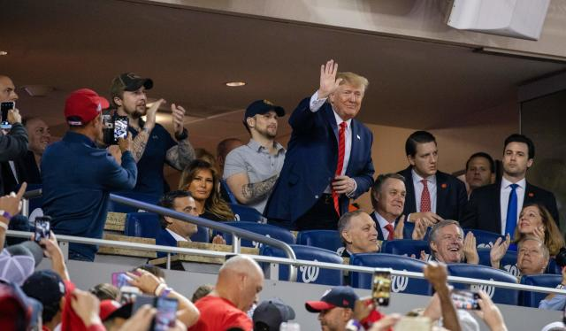President Donald Trump at the World Series. (Tasos Katopodis/AFP via Getty Images)