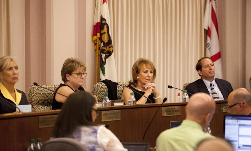 Members of the Stockton City Council listen to citizen statements Tuesday, June 26, 2012, in Stockton, Calif. Stockton officials continue to grapple with the city's financial plight, struggling to restructure millions of dollars of debt threatening to turn the city with the nation's second highest foreclosure rate into the largest American city to file for bankruptcy. (AP Photo/Ben Margot)