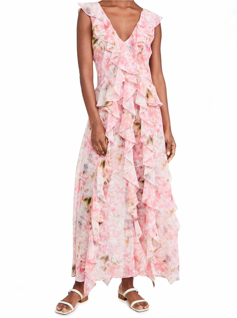 """This ruffly pink dress is ideal for anyone who's still mad they never got to be a flower girl. $410, Shopbop. <a href=""""https://www.shopbop.com/claudita-dress-misa/vp/v=1/1534328390.htm"""" rel=""""nofollow noopener"""" target=""""_blank"""" data-ylk=""""slk:Get it now!"""" class=""""link rapid-noclick-resp"""">Get it now!</a>"""