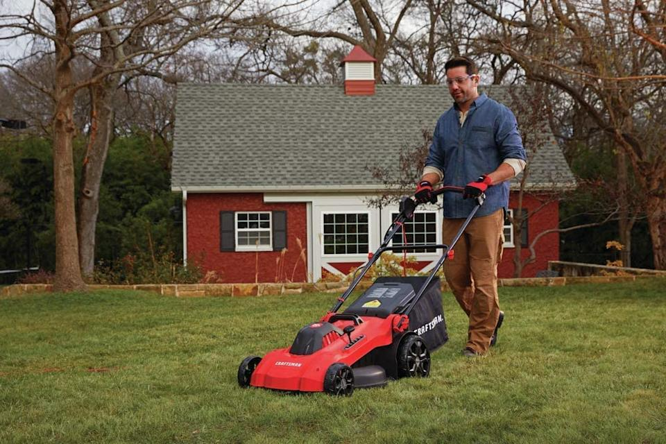 Save $100 on the Craftsman 20-in 13-Amp Corded Lawn Mower. Image via Amazon.